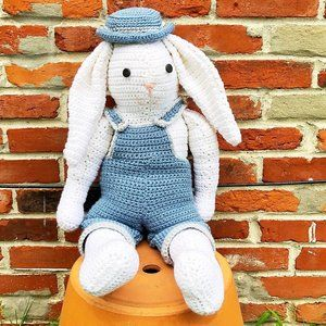 Vintage Large Crocheted Bunny in Overalls and Hat